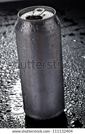 beer can on dark background