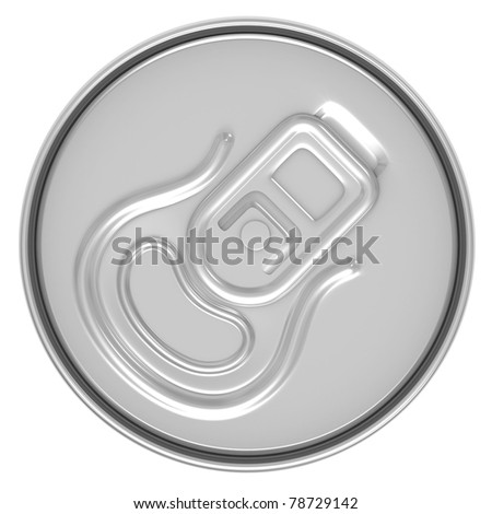 beer can top view isolated on white background