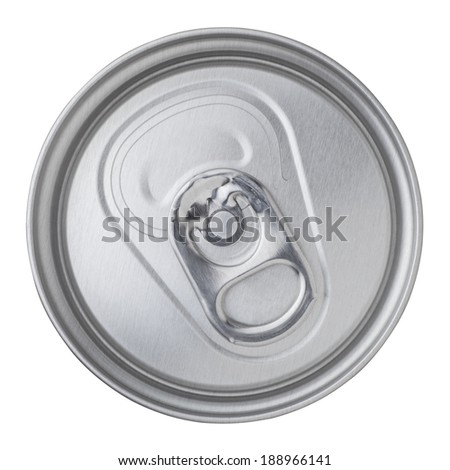 beer canned top view isolated on white background - stock photo