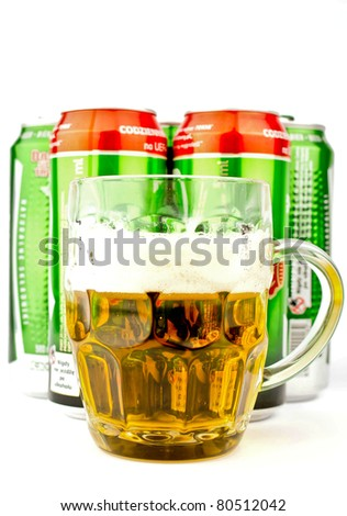 beer cans and mug isolated on white background