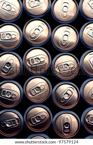 beer cans close up - stock photo