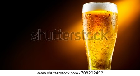 Beer. Cold Craft light Beer in a glass with water drops. Pint of Beer close up isolated on black color background. Border design.