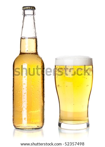 Beer collection - Bottle and glass with lager beer. Isolated on white background