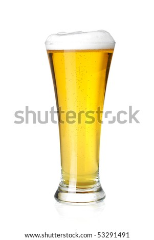 Beer collection - Cold lager beer in glass. Isolated on white background