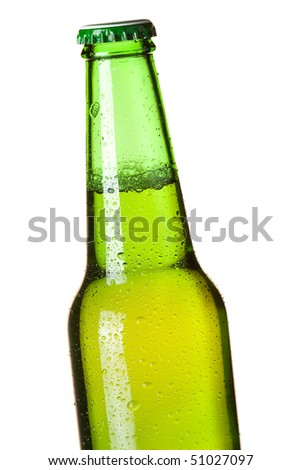 Beer collection - Green beer bottle. Closeup, isolated on white background