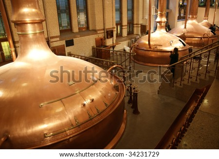 Beer containers in a brewery.
