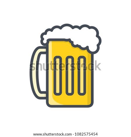 Beer glass colored beverage alcohol raster icon illustration