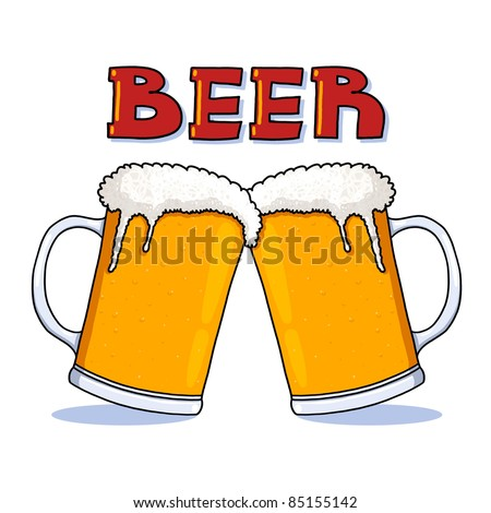 Beer glass illustration; Beer mugs freehand drawing