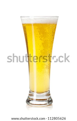 Beer glass. Isolated on white background - stock photo