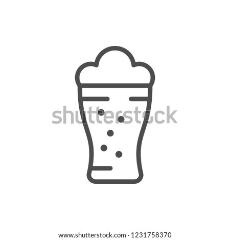 Beer glass line icon isolated on white