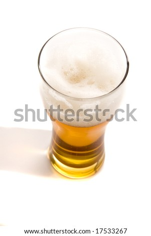 Beer glass on white ground