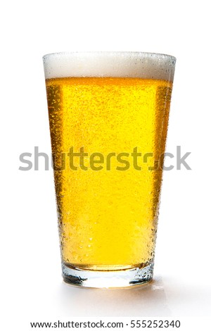 Beer glass with light colored beer and foam on a white background  Stock fotó ©