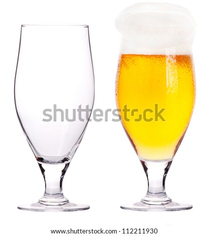 Beer glasses. full and empty isolated on a white background