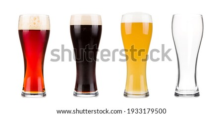 Beer glasses set dark, lager and red isolated on white background Stock photo ©
