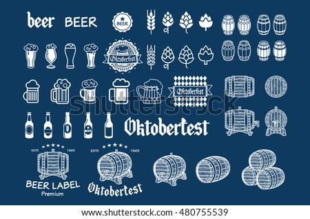 Beer icon chalkboard set - labels, posters, signs, banners, design symbols. - Shutterstock ID 480755539