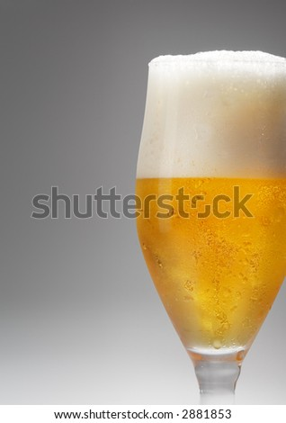 beer in a footed glass