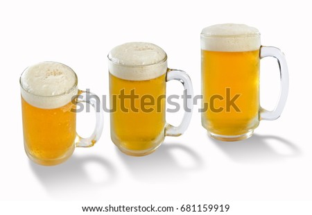 Beer in glass with Three angles mug, cool draught beer has white Soft  bubble overflowing glass, on isolated white background for design element and copy space.