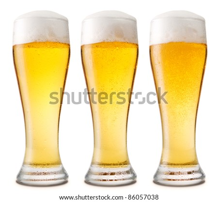 Beer into glass isolated on white. three options