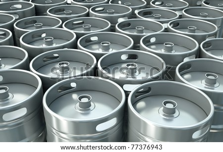 Beer kegs background. 3D rendered image.