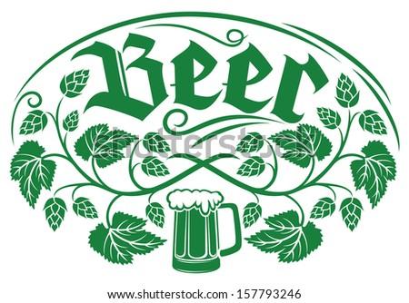 beer label design (hops leaf design, hops plant, hop symbol, hop leaves, hop branch, beer symbol, beer mug)