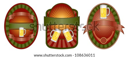 Beer Label Set is an illustration of a set of three beer label or emblem designs. Also makes a great template for t-shirt designs.