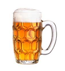 Beer mug filled with beer.