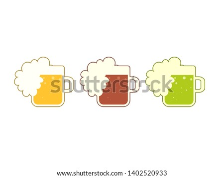 Beer mug with full foam. Brewery clip art isolated on white background