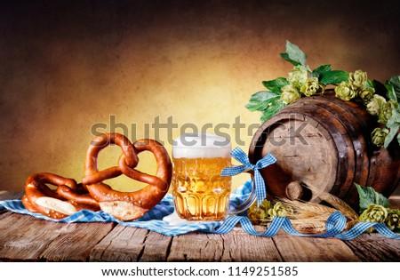 Beer Mug With Pretzel And Bavarian Decoration #1149251585