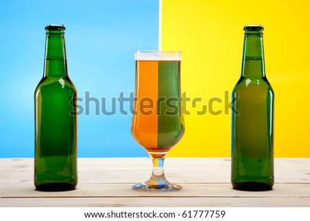 Beer on light blue background