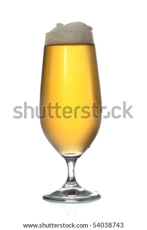 Beer or lager isolated on white background