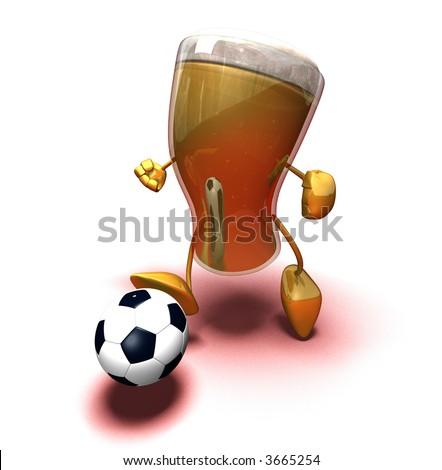Beer playing football