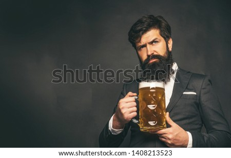 Beer pubs and bars. Enjoy in pub. Retro man in black suit with a beer. Retro advertising of alcoholic beverages #1408213523