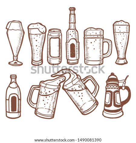 Beer Set. Alcohol Collection in Hand Drawn Style for for Surface Design Fliers Banners Prints Posters Cards. Illustration
