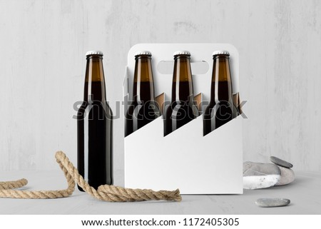Beer six pack bottles composition mockup on white wooden background, with accessories and blank label to place your design #1172405305