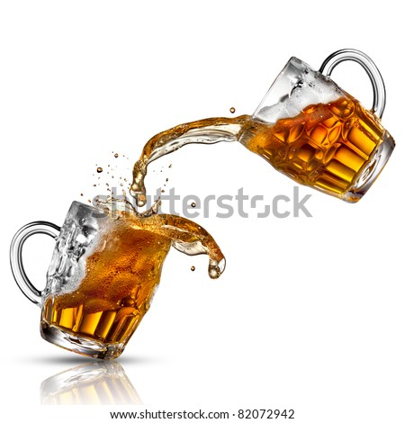 Beer splash in glasses isolated on white