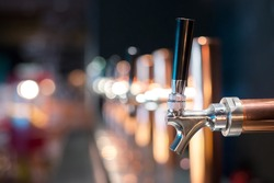 Beer tap in a row