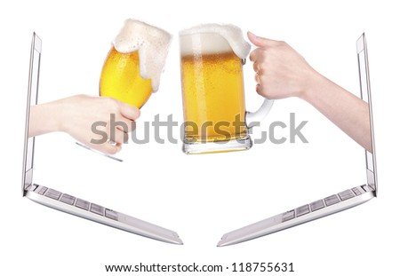 beer toasting to show internet business success isolated