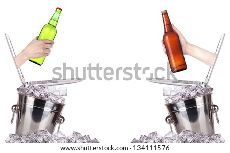 beer toasting to show internet business success isolated on a white background - stock photo