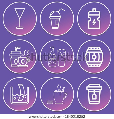 Beer, water, barrel, coffee cup, wine, chocolate, tea, cold drink with straw icon set suitable for info graphics, websites and print media and interfaces Stockfoto ©