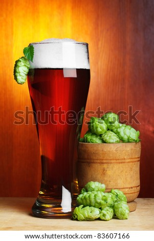 beer with fresh ripe hop still-life