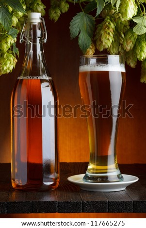 Beer with hop on wooden table still life