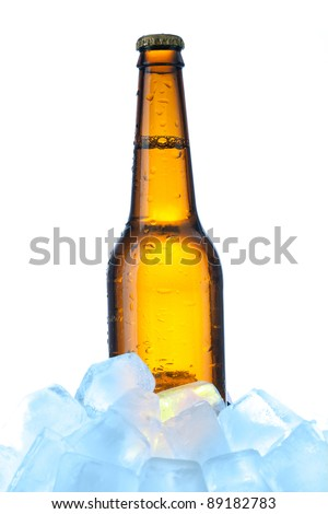 beer with ice over white background