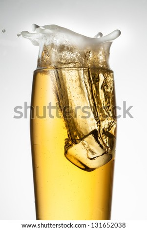 Beer with ice. Splash with drops and foam