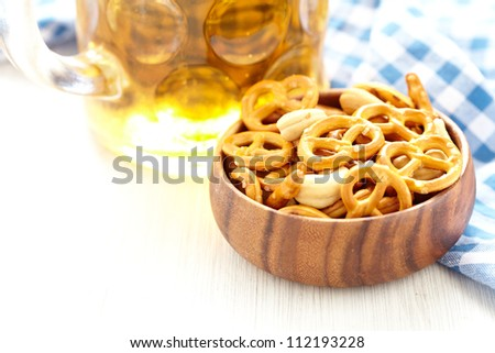 Beer with Pretzels, Crackers and Nuts