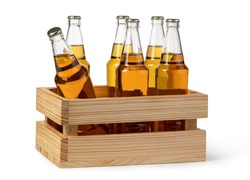 Beer wooden box isolated on a white background