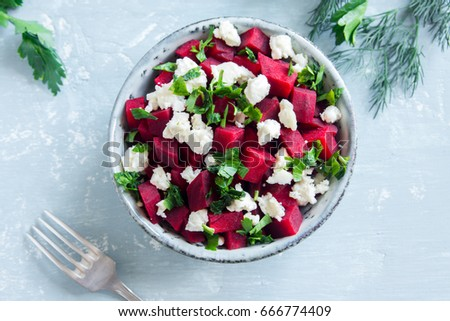 Beet and Feta Cheese Salad with Parsley. Healthy vegetarian diet detox vegan raw food. Vegetable and protein food - beet and feta salad.