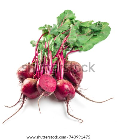 Beet, beetroot bunch on white background. Fresh ripe beetroot with leaf isolated on white with clipping path.