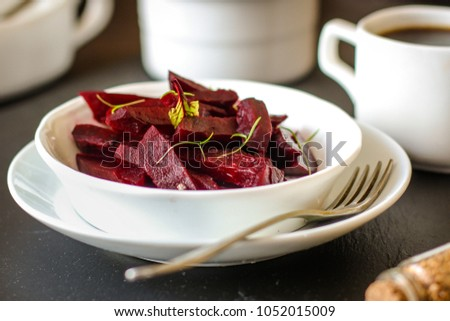 beet boiled - vegetable salad (beet slices)