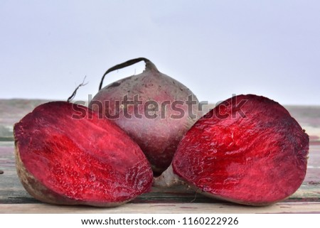 beet on a wooden background,