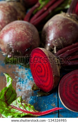 Beet root on wooden background
